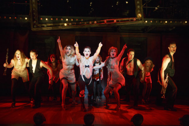 Randy Harrison (center) as theEmcee and the 2016 National Touring cast of Roundabout Theatre Company's CABARET