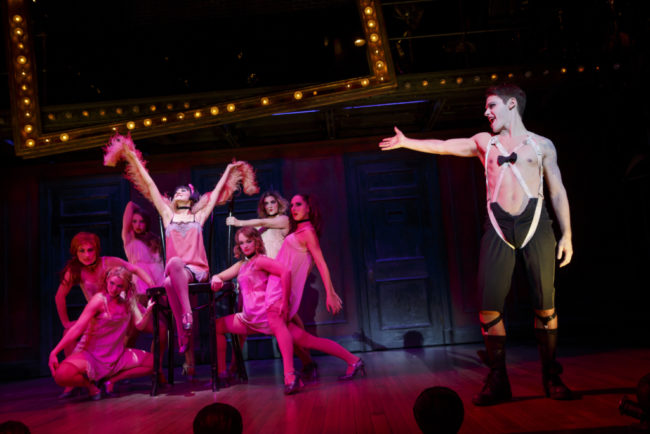 Andrea Goss as Sally Bowles, Randy Harrison as theEmceeand the 2016 National Touring cast of Roundabout Theatre Company's CABARET