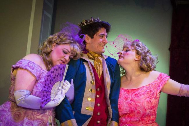 Amanda Spellman (left) as Trillvia, Daniel Valentin-Morales (center) as Prince Champion, and Caitlyn Joy (right) as Shrillvia in the MET Fun Company production of Cinderella
