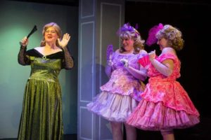 Laura Stark (left) as The Stepmother, Amanda Spellman (center) as Trillvia, and Caitlyn Joy (right) as Shrillvia in MET's Fun Company production of Cinderella