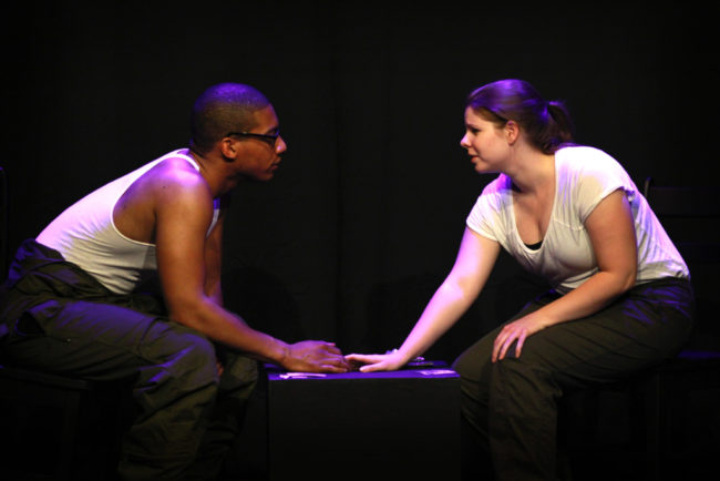 Tim German (left) as Tom and Erin Hanratty (right) as Emily in Empty by Alice Stanley
