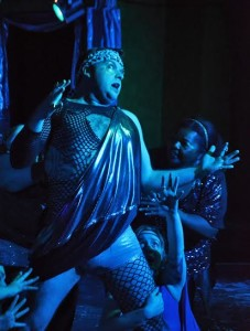 Thomas Scholtes (center) as The Oracle in Oedipus Rox! at Maryland Ensemble Theatre