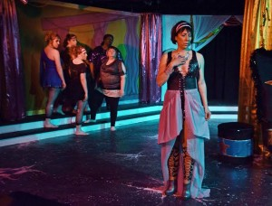 Julie Herber (right) as Jocasta and the ensemble of Oedipus Rox! at Maryland Ensemble Theatre