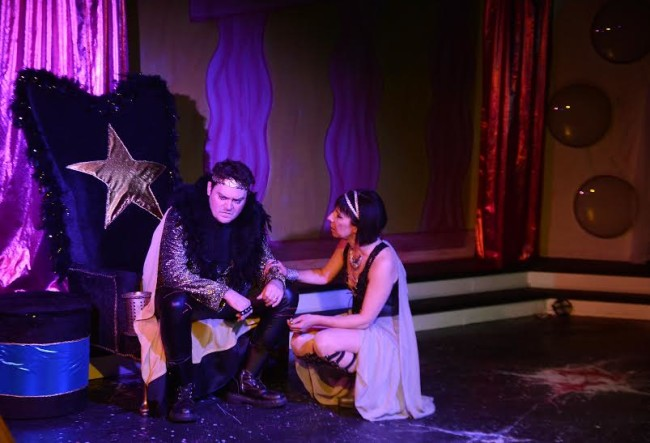 Jack Evans (left) as Oedipus and Julie Herber (right) as Jocasta in Oedipus Rox! at Maryland Ensemble Theatre