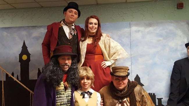William Zellhofer (top left) as Artful Dodger, Mea Holloway (top right) as Nancy, James Fitzpatrick (bottom left) as Fagin, Andi Rudai (center) as Oliver and Lance Bankerd (bottom right) as Bill Sykes in Third Wall Productions' inaugural performance of Oliver!