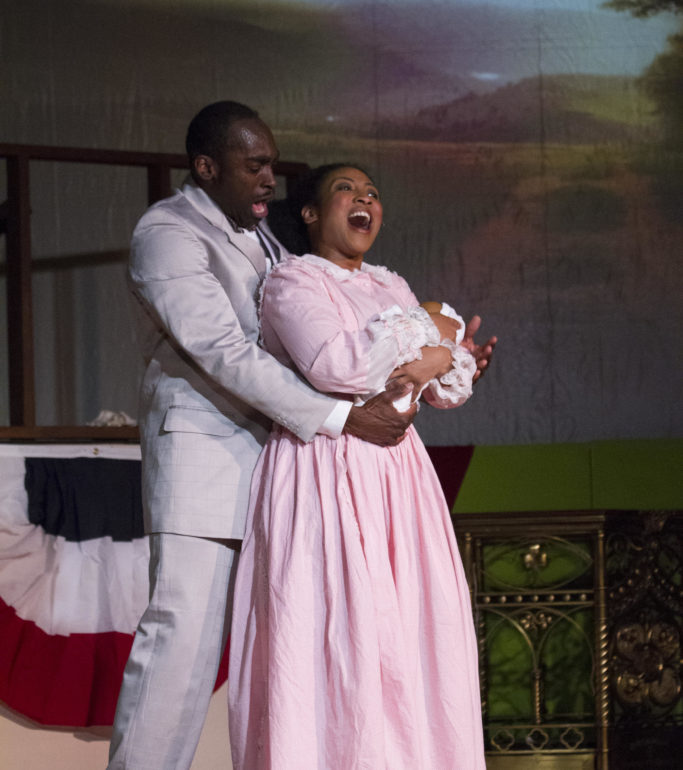 Corey Dunning (left) as Coalhouse Walker Jr. and Samantha Deininger (right) as Sarah in Ragtime at Memorial Players