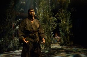 Denzel Dickens as Tajomaru in Rashomon at Performing Arts CCBC Academic Theatre