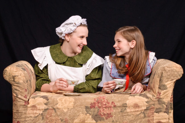 Ella Green (left) as Martha and Madi Heinemann (right) as Mary Lennox in The Secret Garden