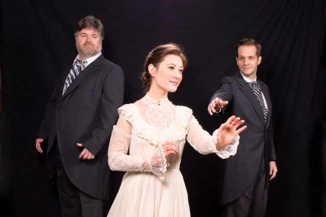 Kevin Cleaver (left) as Doctor Neville Craven, Lindsay Espinosa (center) as Lily, and Justin Ritchie (right) as Archibald Craven in The Secret Garden