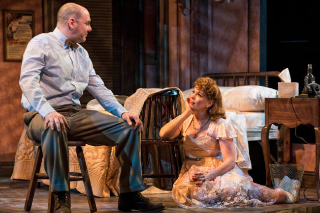 Chris Genebach (left) as Harold Mitchell and Beth Hylton (right) as Blanche DuBois in A Streetcar Named Desire at Everyman Theatre