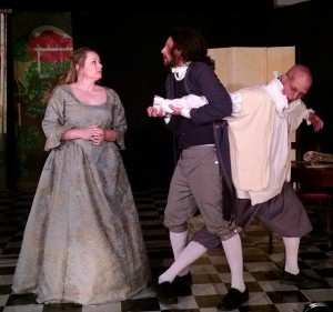 Jenny Liese (left) as Marianne, Tom Weaver (center) as Cleante, and Luke Woods (right) as Harpagon in The Miser at Twin Beach Players