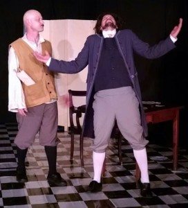 Jim Weeks (left) as La Fleche and Tom Weaver (right) as Cleante in The Miser at Twin Beach Players