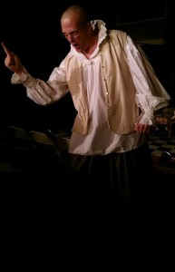 Luke Woods as Harpagon, in The Miser at Twin Beach Players