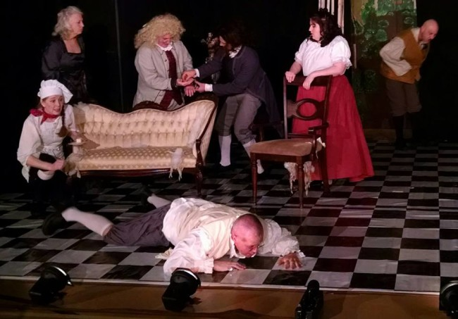 A chaotic scene of sheer pandemonium in The Miser at Twin Beach Players