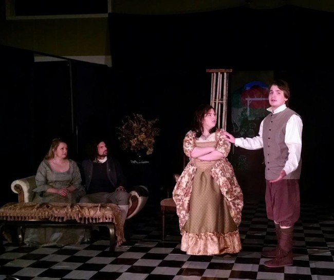 (L to R) Jenny Liese as Marianne, Tom Weaver as Cleante, Annie Gorenflo as Elise, and Aidan Davis as Valere in The Miser at Twin Beach Players
