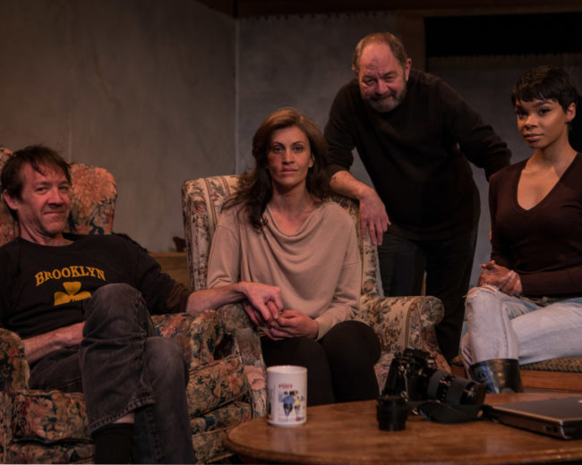 (L to R) Michael Donlan as James, Claire Carberry as Sarah, Jeff Murray as Richard, and Linae' C. Bullock as Mandy in Time Stands Still at Fells Point Corner Theatre