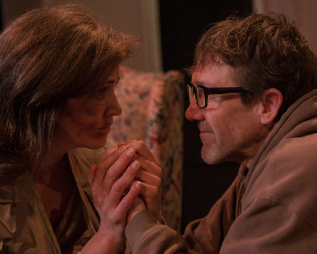 Claire Carberry (left) as Sarah and Michael Donlan (right) as James in Time Stands Still at Fells Point Corner Theatre
