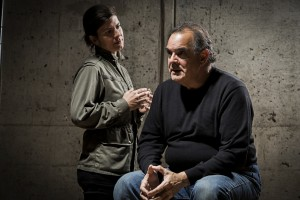 Gabriela Fernandez-Coffey (left) as Morris and Edward Gero (right) as Sims in The Nether at Woolly Mammoth Theatre Company