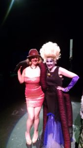TheatreBloom Reviewer Amanda N. Gunther (left) and Nance Weber (right) as Ursula at Milburn Stone Theatre's The Little Mermaid