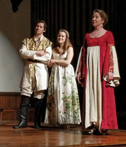 Brendan Kennedy (left) as Florizel, Kathryn Zoerb (center) as Perdita, and Marianne Gazzola Angelella (right) as Paulina in The Winter's Tale
