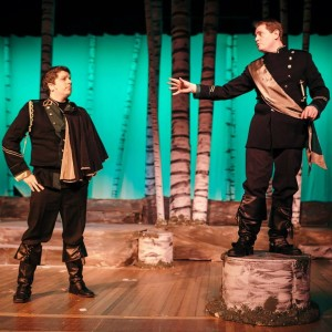 Kevin D'Alesandro (left) as Rapunzel's Prince and Jim Gerhardt (right) as Cinderella's Prince in RTP's Into the Woods