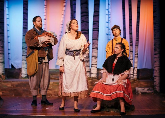 (L to R) Ryan Geiger as The Baker, Megan D'Alesandro as Cinderella, Gabrielle Gilbert as Little Red Riding Hood, and Noah Maenner as Jack