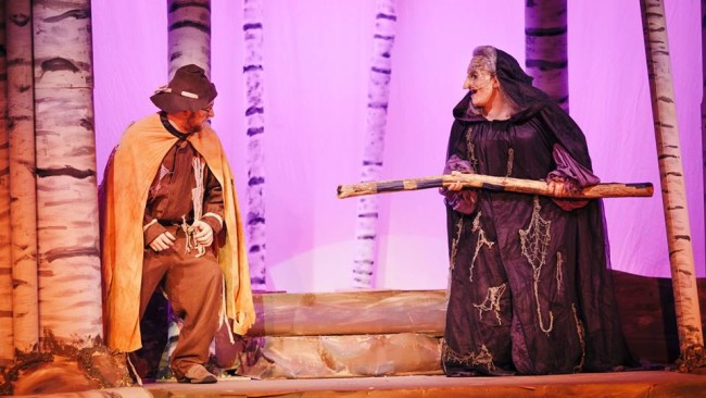 The Mysterious Man (left) and Kristen Zwobot (right) as The Witch in Into the Woods at RTP