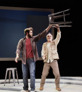 Thomas Keegan (left) as Dan O'Brien and Eric Hissom (right) as Paul Watson in The Body of an American at Theater J