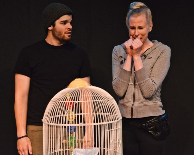 "Zack Bopst (left) as Herb and Barbara Madison Hauck (right) as June in ""Babo and the Bird"" by Pete Taylor"
