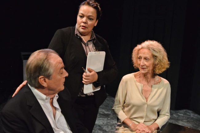 "Peter Wilkes (left) as Mr. Langford, Holly Elizabeth Gibbs (center) as Patricia, and Dianne Hood (right) as Mrs. Langford in ""Compos Mentis"" by Marilyn Millstone"