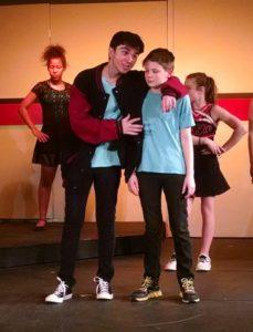 Jake Schwartz (left) as Bret and Pierce Elliott (right) as Evan in 13: The Musical