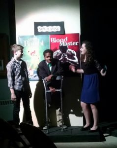 Pierce Elliott (left) as Evan, Jaylen Fontaine (center) as Archie, and Grace Volpe (right) as Patrice in 13: The Musical