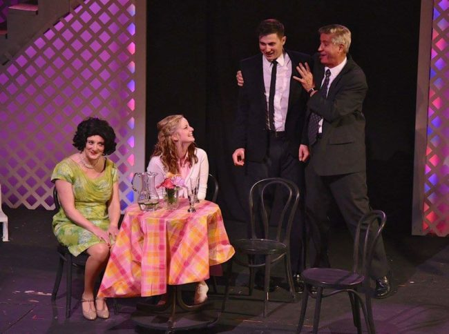 Haley Briner (center left) as Brenda Strong and Jamie Austin Jacobs (center right) as Frank Abignale Jr. in last summer's Catch Me if You Can at ASGT