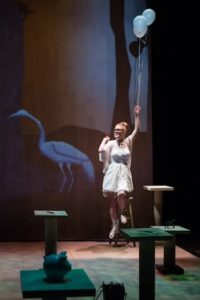 Sara Dabney Tisdale as White Egret in Blackberry Winter at Forum Theatre
