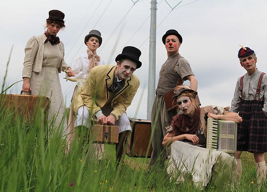 (L to R) The Members of Happenstance Theater: Sabrina Mandell, Gwen Grastorf, Alex Vernon, Mark Jaster, Sarah Olmsted Thomas, and Karen Hansen in BrouHaHa