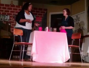 Lydia West (left) as Carley and Christie Arnie (right) as Mandy in The Coffee Shop