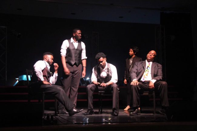 "(L to R) C.J. Faulk as Jimmy ""Thunder"" Ealy, Theodore Sapp as C.C., Jason Ellis as Curtis, Alani D'Lawren as a singer dude, and Kevin Sockwell as Marty in Dreamgirls"