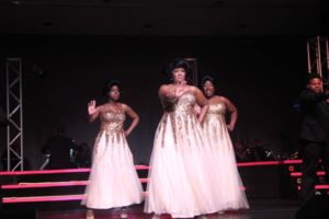 "Christine O. Wells (left) as Michelle, Richelle ""Rikki"" Lacewell (center) as Deena Jones and Sheron LaSha (right) as Lorell in Dreamgirls"