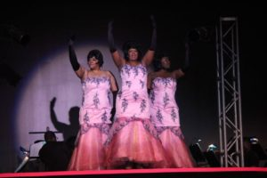 "Corisa Myers (left) as Effie, Richelle ""Rikki"" Lacewell (center) as Deena Jones, and Sheron LaSha (right) as Lorell in Dreamgirls"