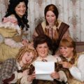 Amy Luchey (top left) as Meg and Sherry Benedek (top right) as Jo, with Jennie Phelps (bottom left) as Amy, Eileen Keenan Aubele (center) as Marmee, and Allison Comotto (bottom right) as Beth in Little Women