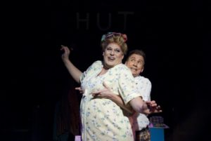 Lawrence B. Munsey (left) as Edna Turnblad and David James (right) as Wilbur Turnblad in the 2010 Toby's Dinner Theatre production of Hairspray