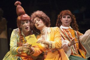 Darren McDonnell (left) as Joy, Heather Marie Beck (center) as Stepmother, and David James (right) as Grace in the 2010 Toby's Dinner Theatre Production of Cinderella