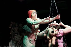 Amy Belschner Rhodes (left) as Woman and Deborah Randall (right) as Scuzzy in Garbage Kids at Venus Theatre