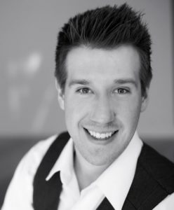 Justin Calhoun, currently co-starring in Gutenberg! The Musical at Epic! Productions