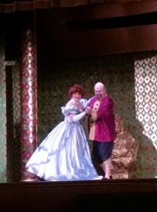 Heidi Toll (left) as Anna and Chuck Dick (right) as The King in The King & I at St. Gabriel's Miracle Players