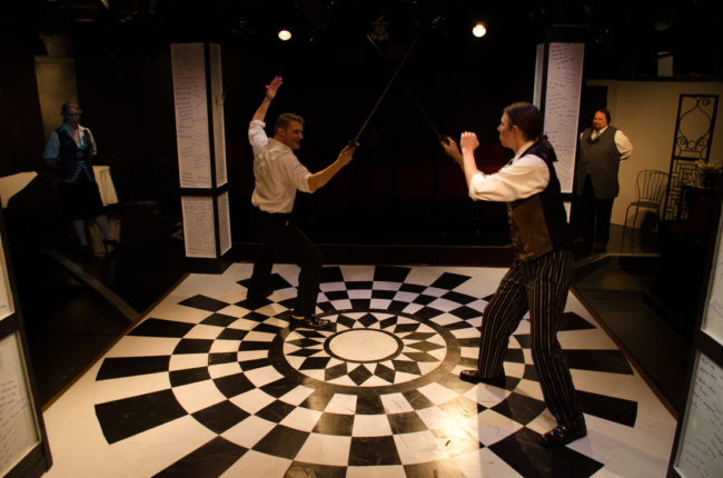 Nathan Parry (left) as Le Vicomte de Valmont and Jeffrey L. Springtree Gangwisch (right) as Le Chevalier Danceny