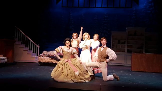 (L to R) Amy Luchey as Meg, Sherry Benedek as Jo, Jennie Phelps as Amy, Allison Comotto as Beth, and Gino Cardoni as Laurie in Little Women