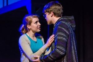 Christie Smith (left) as Natalie and Michael Nugent (right) as Henry in Next to Normal at Silhouette Stages