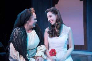 Renata Plecha (left) as The Nurse and Olivia Ercolano (right) as Juliet in Romeo & Juliet at Annapolis Shakespeare Company