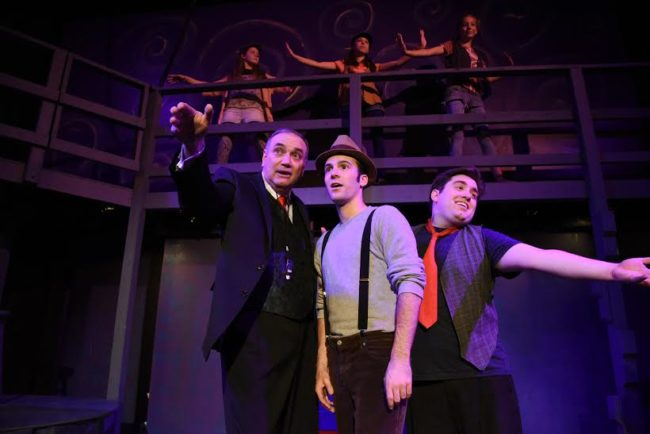 Above, Sarah Makl, Charlize Lefter and Sarah Grace Clifton as Urchins Below, Left, Piers Portfolio as Cocky, Elliott Bales as Sir, and Tommy Malek as Kid